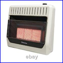 30000 BTU Dual Fuel Ventless Radiant Large Room Wall Heater w Thermostat Control