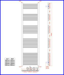 550mm Wide Designer Chrome Heated Towel Rail Radiator Ladder Straight Bathroom