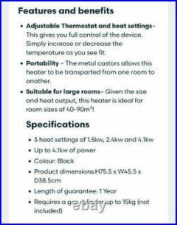 Daewoo 4.1kw Calor Gas Portable Cabinet Heater Fire Butane With Regulator & Hose