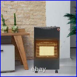 Gas Fire Heater Cabinet Butane Piezo-Electric Portable Calor LPG Warmer Wheely