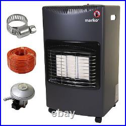 Gas Heater Portable Freestanding Wheeled Calor Fire Butane Hose Clamp Regulator
