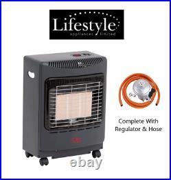 Lifestyle MINI BLACK Gas Butane Portable Cabinet Heater Fire + Regulator/Hose