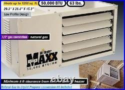 NEW 50,000 BTU Heater Natural Gas Propane for 1000-1200 sq ft Garage Shed Shop
