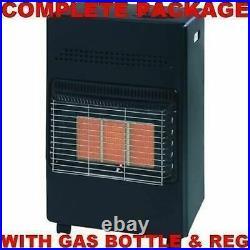 New Black With Calor Gas Lpg Full Bottle & Regulator Portable Mobile Heater