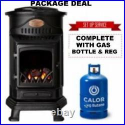 New Brown Provence Calor Portable Mobile Heater Complete Full Gas Bottle & Reg
