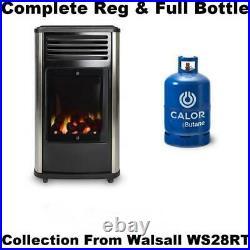New Complete+Full Calor Gas Bottle Manhattan 3.4kw Portable Coal Effect Heater