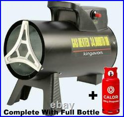 New Complete With Calor Bottle Kingavon 15kw Gas Lpg Propane Space Blow Heater