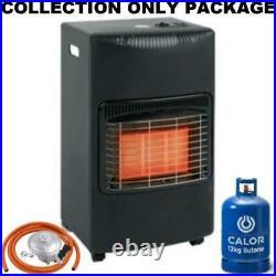 New Matt Black Large Complete With Calor Gas Bottle & Reg Portable Mobile Heater