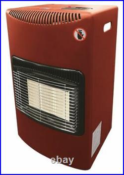 Red 4.2Kw Portable Heater Standing Heating Cabinet Butane Gas 3 Heat Settings