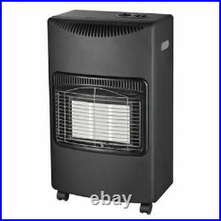 Wheeled Gas Heater Portable Freestanding Cabinet Fire Home Office Butane Black