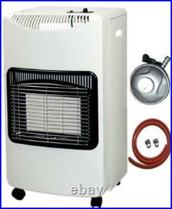Wheeled Gas Heater Portable Freestanding Cabinet Fire Home Office Butane White